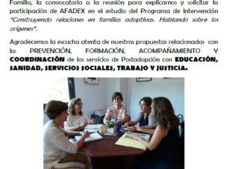 Reunión con Sección de Promoción y Prevención Familiar y Servicio Post Adopción